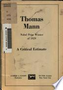 Thomas Mann, Nobel Prize Winner of 1929