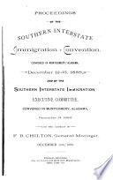 Proceedings of the Southern Interstate Immigration Convention