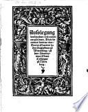 Ausslegung des hundert und ne  ndten psalmen  Dixit dominus domino meo