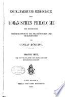 Encyklopaedie und Methodologie der romanischen Philologie: Th. Die Encyklopaedie der romanischen Einzelphilologien. Zusatzheft. Register. Nachträge zu den Litteratur-Angaben