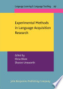 Experimental Methods in Language Acquisition Research