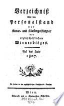 Verzeichniß über den Personal-Stand der Säkular- und Regulargeistlichkeit der erzbischöflichen Wienerdiöces