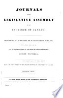 Journals Of The Legislative Assembly Of The Province Of Canada
