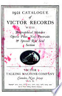 1921 Catalogue of Victor Records