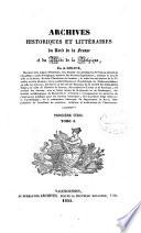 illustration Archives historiques et littéraires du Nord de la France et du Midi de la Belgique