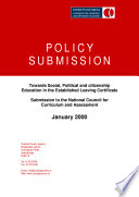 Combat Poverty Agency Submission to the National Council for Curriculum   Assessment  Towards Social  Political and Citizenship Education in the Leaving Certificate  2000