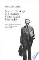 Selected Writings of Edward Sapir in Language  Culture and Personality