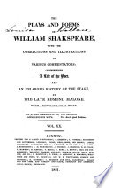 The Plays and Poems of William Shakespeare  Venus and Adonis  Rape of Lucrece  Sonnets  Lover s complaint  Passionate pilgrim  Memoirs of Lord Southampton