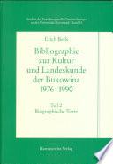 Bibliographie zur Kultur- und Landeskunde der Bukowina 1976-1990