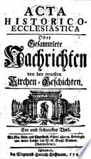 Acta historico-ecclesiastica