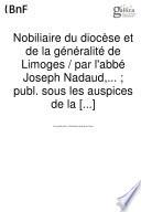 Nobiliaire du diocèse et généralité de Limoges