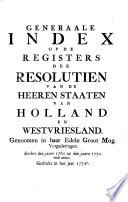 Resolutien van de Heeren Staaten van Holland en Westvriesland