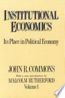 Institutional Economics  Vol  I