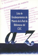 Lista de encabezamientos de materia de la Red de Bibliotecas del CSIC