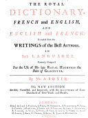 Book The royal dictionary. French and English. English and French