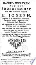 Handt Boekxken Van Het Broederschap Van Den Glorieusen Patriarch H Joseph