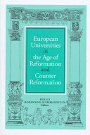 European universities in the age of Reformation and Counter Reformation