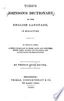 Todd s Johnson s Dictionary of the English Language in Miniature