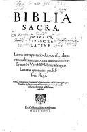 BIBLIA SACRA  HEBRAICE  GRAECE    LATINE