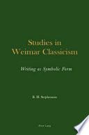 Studies In Weimar Classicism