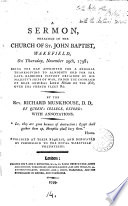 A Sermon Preached In The Church Of St John Baptist Wakefield On Thursday November 29th 1798