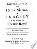 download ebook the history and fall of caius marius. a tragedy in five acts and in verse pdf epub
