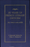 Book Twenty Years of French Literary Criticism