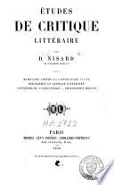 Etudes de critique littéraire