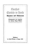 Goethes Sprüche in Prosa