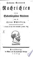 Nachrichten von Siebenbürgischen Gelehrten