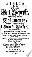 Biblia     nach der Teutschen   bersetzung D  M  Luthers     Samt einer Vorrede von H  Burckhard