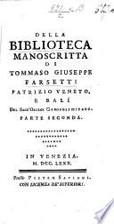 Biblioteca manoscritta di Tommaso Giuseppe Farsetti   A catalogue  By Jacopo Morelli