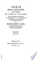 Serie dell edizioni de testi di lingua Italiana