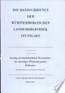 Katalog der handschriftlichen Theaterbücher des ehemaligen Württembergischen Hoftheaters