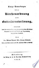 Einige Bemerkungen über Kirchenordnung und Gottesdienstordnung