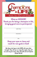 Vacation Bible School Vbs 2020 Champions In Life Leader Certificates Pkg Of 12 Ready Set Go With God