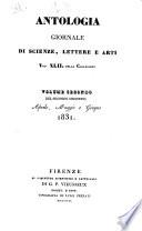 Antologia  giornale di scienze  lettere e arti