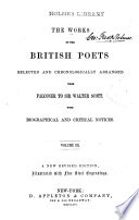 The works of the British poets  selected and chronologically arranged
