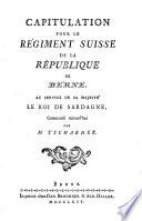 Capitulation Pour Le Regiment Suisse De La Republique De Berne Au Service De Roi De Sardagne