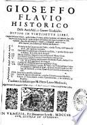 Delle antichit    e guerre giudaiche  Diuiso in vintisette libri  Compartiti in tre parti     Tradotto in italiano per M Pietro Lauro modenese
