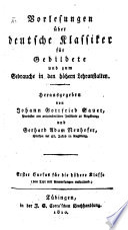 Vorlesungen über deutsche Klassiker