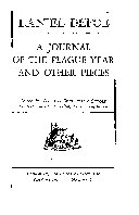 A JOURNAL OF THE PLAGUE YEAR AND OTHER PIECES