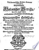 Abgenöthigter Bericht des Evang. Kirchen Convents in Straßburg von den Pietisten daselbst