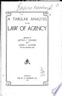Book A Tabular Analysis of the Law of Agency