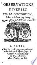 Observations diverses sur la composition  et sur la lecture des livres