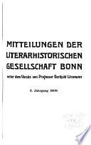 Mitteilungen Der Literarhistorischen Gesellschaft Bonn