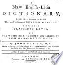 A New English Latin Dictionary