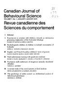 Canadian Journal of Behavioural Sciences