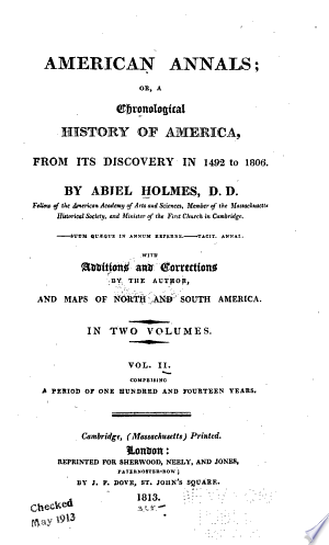 American annals: or, A chronological history of America, from its discovery in 1492 to 1806