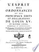 illustration L'esprit des ordonnances et des principaux édits et déclarations de Louis XV, en matière civile, criminelle et bénéficiale